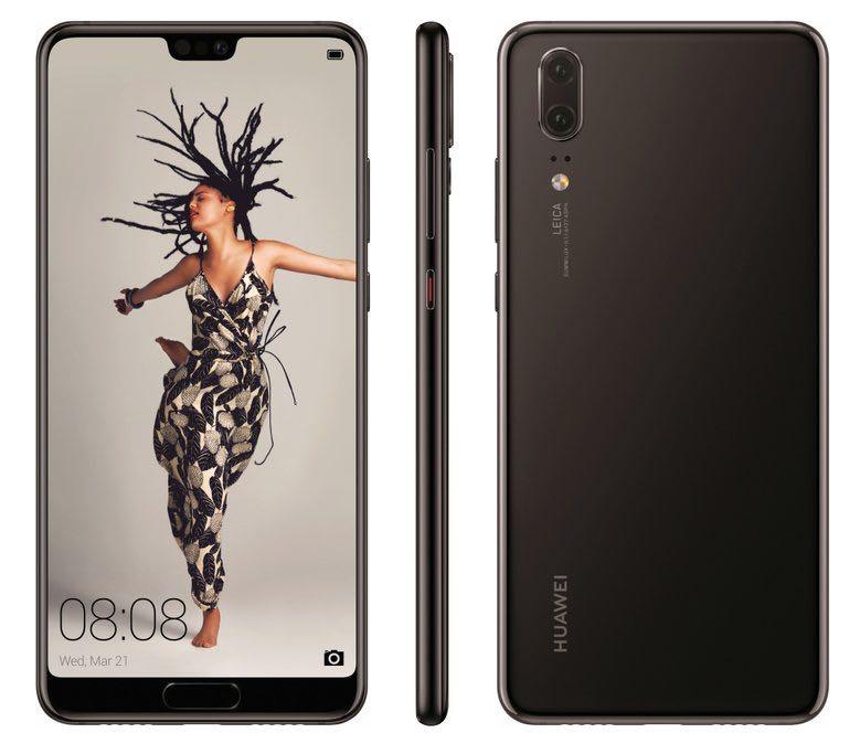 Huawei P20. billede fra @evleaks