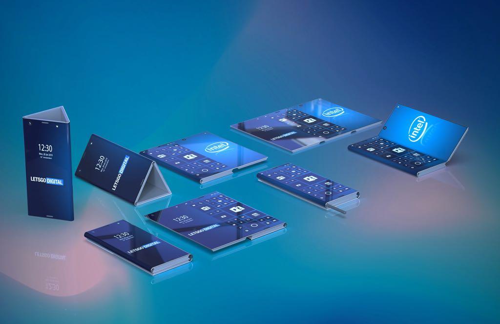 Intels foldbare smartphone. Rendering LetsGoDigital (https://en.letsgodigital.org/)