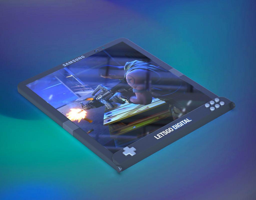 Samsungs foldbare gaming smartphone. Rendering: LetsGoDigital (https://en.letsgodigital.org/)
