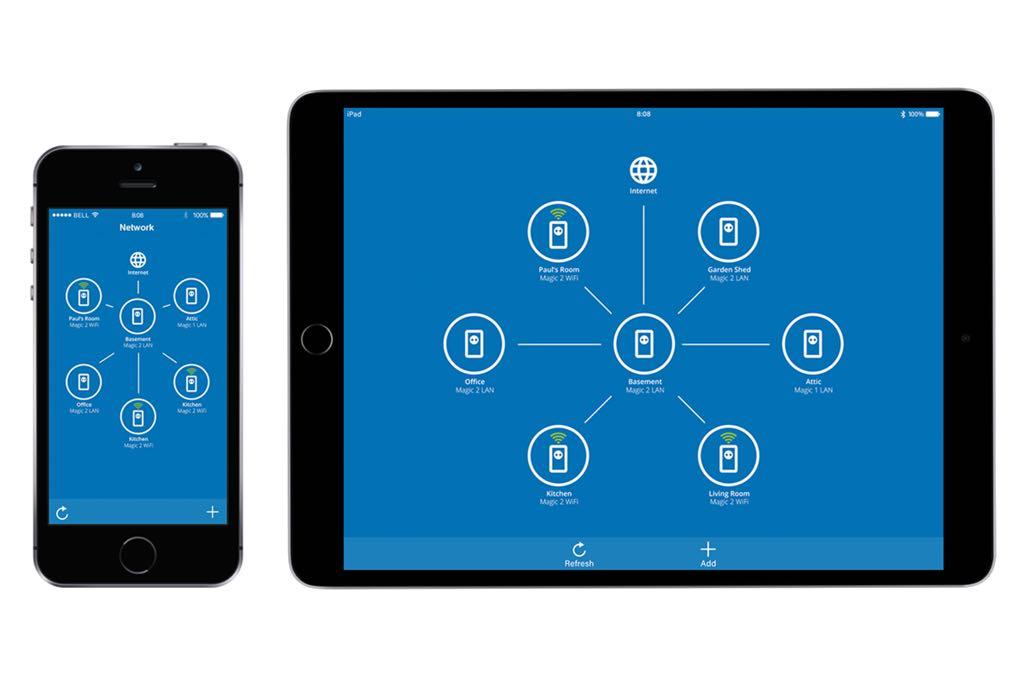 Devolo Home Network app'en der viser et færdigt netværk, med mulighed for at ændre i alle parametre.
