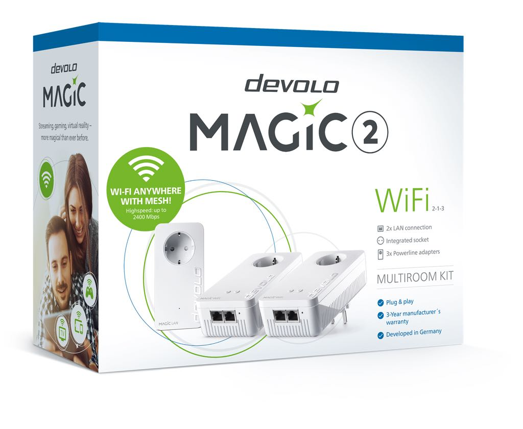 devolo Matic 2 WiFi Multiroom. Pakken med 1 Lan-adapter og 2 WiFi-adaptere. Foto: devolo